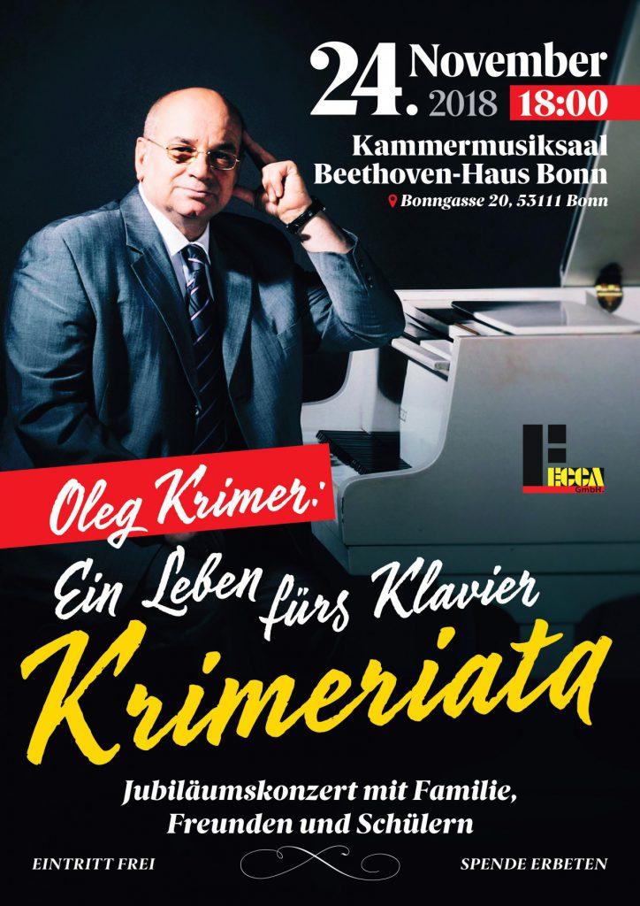 Krimeriata: festival zu Ehren des 45. Jahrestages der Musikerkarriere und pädagogischen Tätigkeit des berühmten Pianisten Oleg Krimer