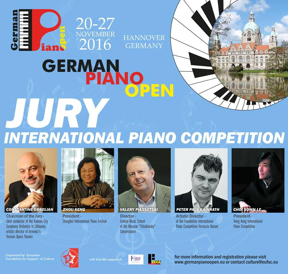 """Vom 20. bis 27. November 2016 fand in der schönen deutschen Stadt Hannover der erste """"German Piano Open Competition"""" statt."""