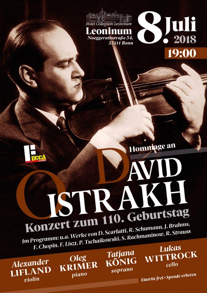Diese Jahr feiern wir das Jubiläumsjahr von einem der größten Musiker, David Oistrach.